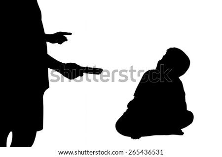 silhouette of father pointing finger at his son  and hand hold smart phone because he play smart phone long time.  - stock photo
