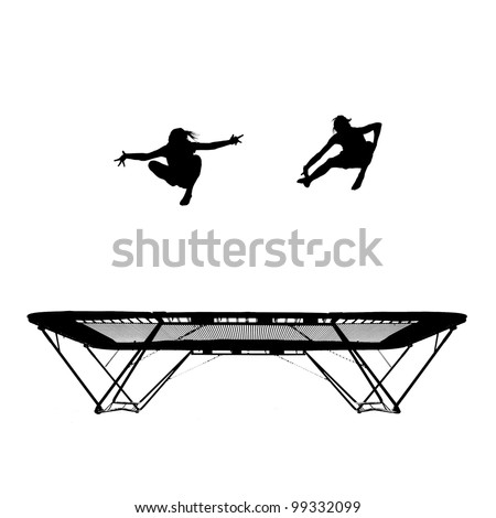 silhouette of female gymnasts on trampoline - stock photo