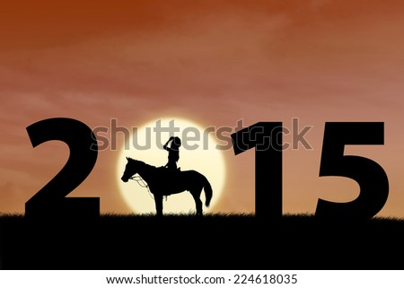 Silhouette of female horse rider at sunset with 2015 outdoor - stock photo