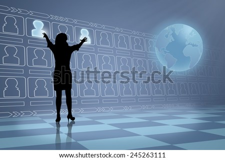 Silhouette of future business woman in the Human Resources industry choosing a candidate  - stock photo