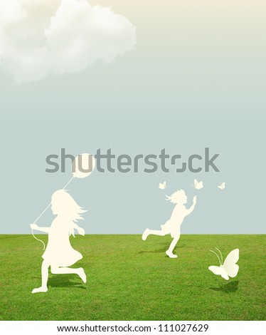 silhouette of girl and boy playing with butterfly and Balloon  under sky .paper cut style - stock photo