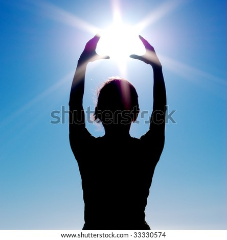 Silhouette of girl and sun. Element of design. - stock photo