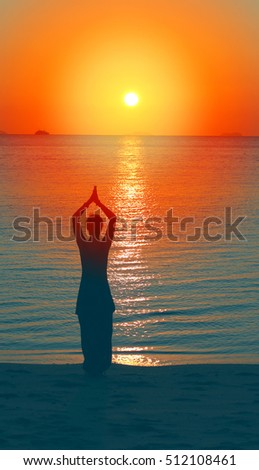 Silhouette of girl on a background sunset by the sea