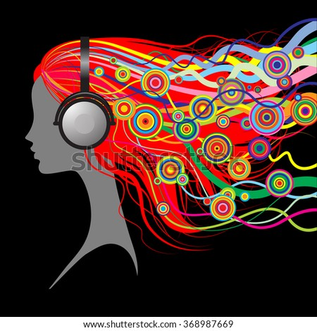 Silhouette of girl's head with red loose hair listen to music with head-phones on black background - stock photo