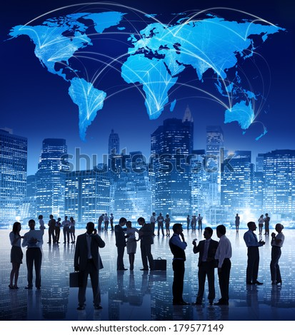 Silhouette of Global Business Meeting - stock photo