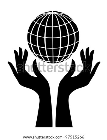 Silhouette of globe and hands - stock photo