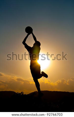Silhouette of goal keeper