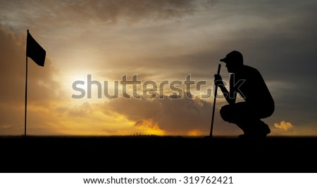 silhouette of golfers hit sweeping and keep golf course in the summer for relax time - stock photo
