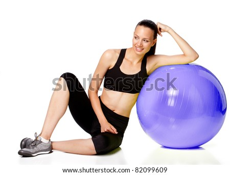 silhouette of gorgeous girl with fitness ball