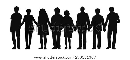 silhouette of group of people holding their hands standing all together in a row, front view - stock photo