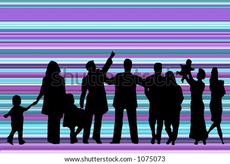 Silhouette of group of people on abstract background
