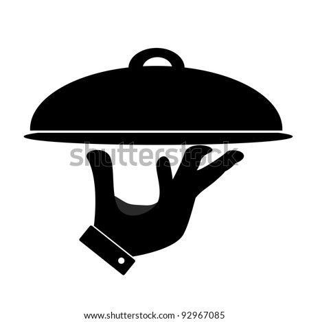 Silhouette of hand holding serving tray - stock photo