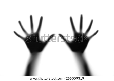 Silhouette of hands - stock photo