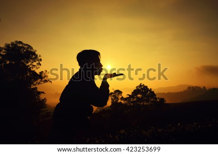 Silhouette of happy man and beautiful sky over sunrise background  - stock photo
