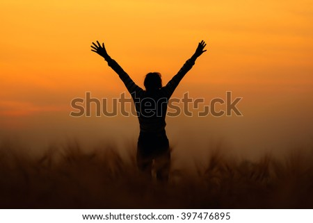 Silhouette of  happy woman open arms in wheat field at sunset
