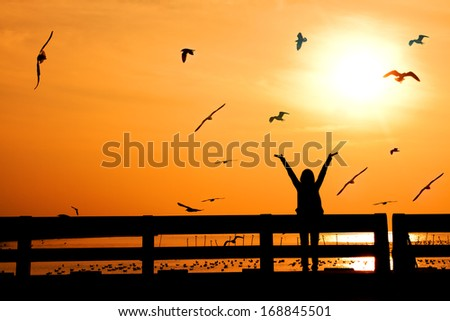silhouette of happy woman with birds  on bridge in sunset - stock photo