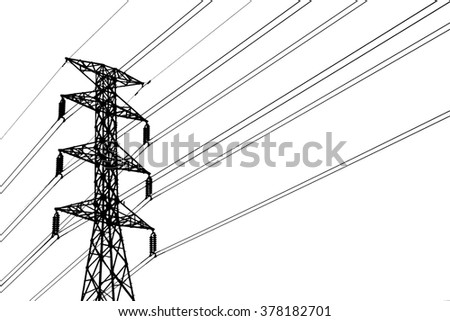 Silhouette of  high voltage post( High-voltage tower, Grid Utility ) isolated on white background.