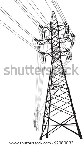 Silhouette of high voltage power lines and pylon - stock photo