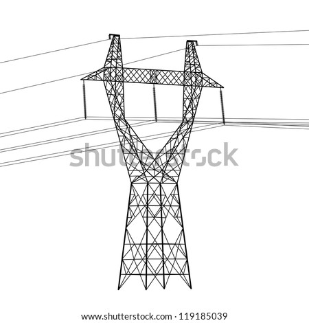 Silhouette of high voltage power lines.   illustration. - stock photo