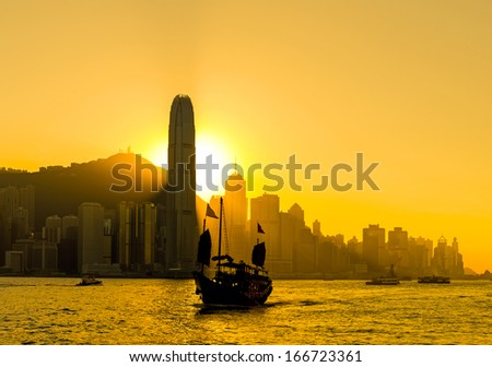 Silhouette of Hong Kong city - stock photo
