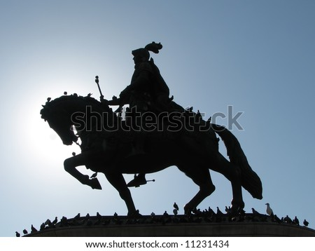 silhouette of horse rider statue with birds