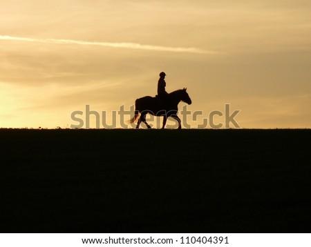 Silhouette of horseback riding at sunset - stock photo