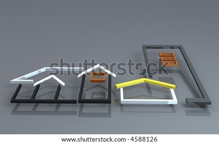 Silhouette of houses and building to illustrate business