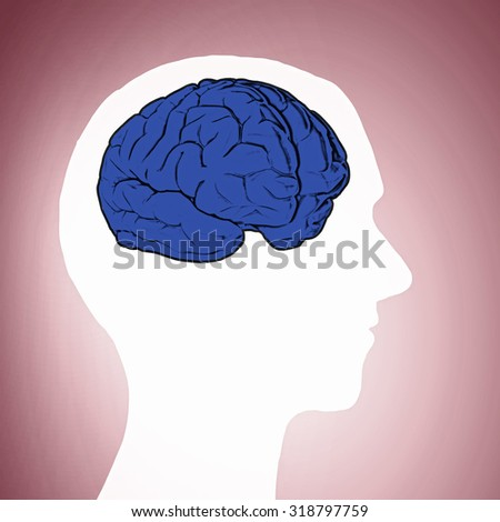 Silhouette of human head with brain on color background - stock photo