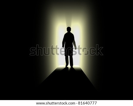 Silhouette of human with lighting