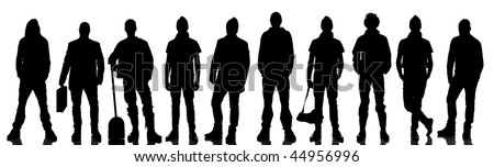 Silhouette of 10 humans standing nest to each other - stock photo