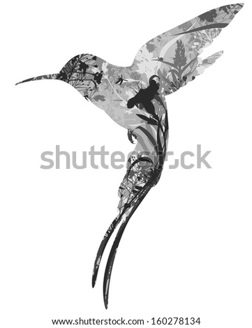 silhouette hummingbird tropical flowers grass insects stock illustration 160278134 shutterstock. Black Bedroom Furniture Sets. Home Design Ideas