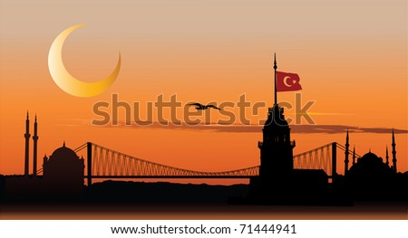 Silhouette of Istanbul cityscape against sunset sky - stock photo