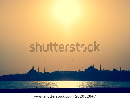 Silhouette of Istanbul seaside with a mosques and seagulls at sunset.  - stock photo