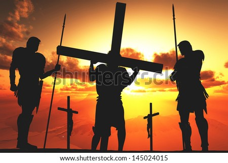 Silhouette of Jesus from the Cross - stock photo