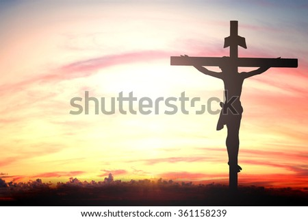 Silhouette of Jesus with Cross over sunset concept for religion, worship, Christmas, Easter, thanksgiving prayer and praise. symbol resurrection redeemer cloud adoration mercy - stock photo