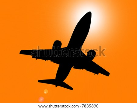 Silhouette of jet aircraft flying overhead at sunset with sun directly behind cabin. - stock photo