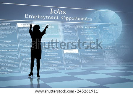 Silhouette of job hunting future business woman reading job ads beside earth globe  - stock photo