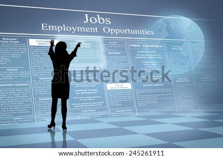 Silhouette of job hunting future business woman reading job ads beside earth globe  - stock photo
