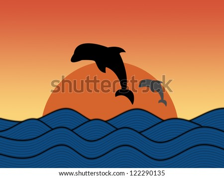 Silhouette of jumping dolphin - stock photo