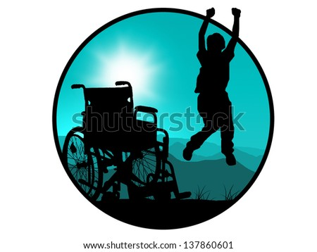 silhouette of jumping invalid man - stock photo