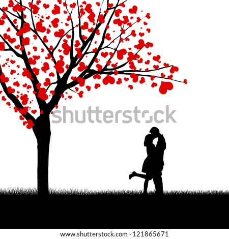 Silhouette of kissing couple beside love tree - stock photo