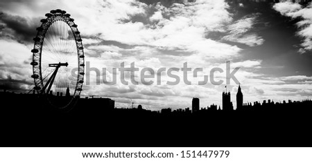 Silhouette of London eye, County Hall, Westminster Bridge, Big Ben and Houses of Parliament. - stock photo