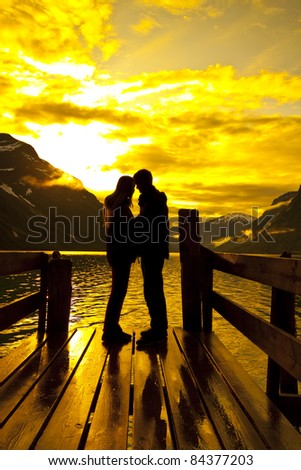 silhouette of lovers - stock photo