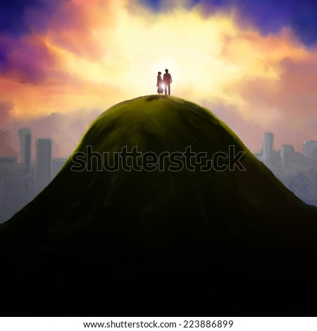 Silhouette of loving couple standing on a top of the hill against the sunset and watching the city scene. - stock photo
