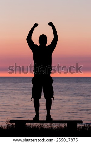 Silhouette of male person against a colorful horizon. - stock photo