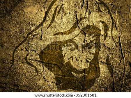Silhouette of man in the hood or hooligan over concrete textured background