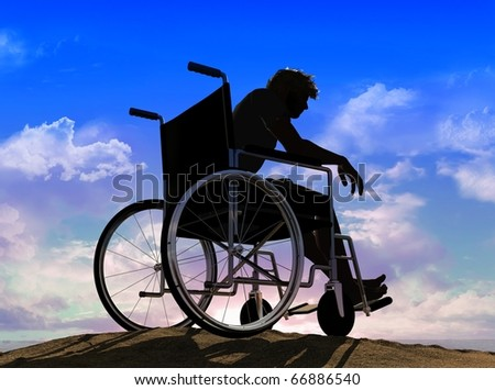 Silhouette of man on a wheelchair - stock photo