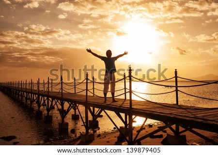 silhouette of man on the sunrise