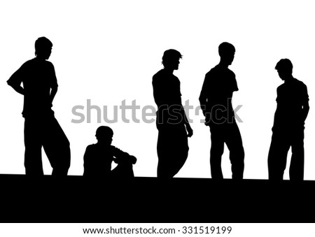 Silhouette of man on white background