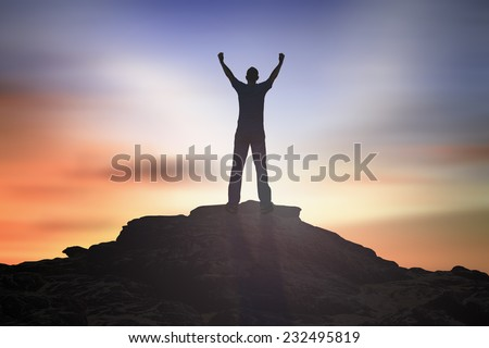 Silhouette of man with hands raised to beautiful sunset background. World Mental Health Day Thanksgiving Christmas Forgiveness Mercy Repentance Reconcile Glorify Evangelical Humanitarian concept - stock photo